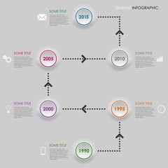 Time line info graphic round element template