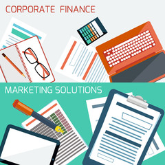 Concept for corporate finance, marketing solution