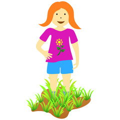Cartoon girl with grass