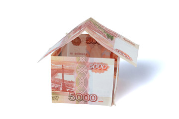 Money house made of rubles bills