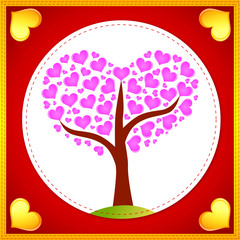 Pink hearts tree card