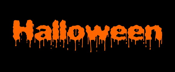 bloody halloween orange text