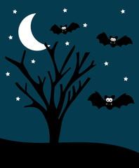 halloween illustration with bats