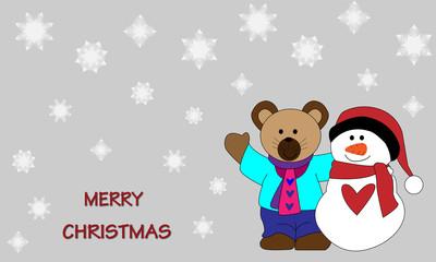 Osito y muñeco de nieve Merry christmas.