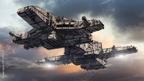Foto op Canvas UFO SCIFI Ship