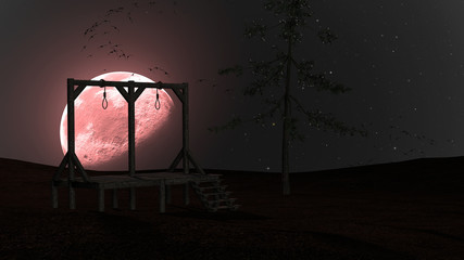 Spooky Night background with Gallows, Crows and Red Moon