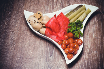 set of marinated pickled vegetables