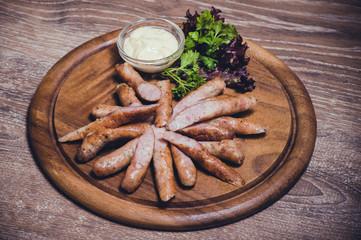 pork fried sausages with dip