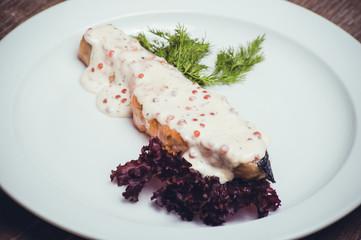 salmon fillet with caviar cream sauce