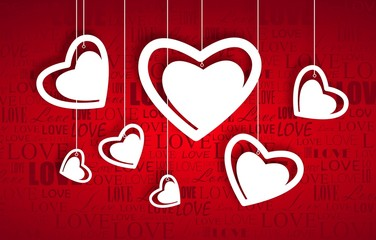 Beautiful white hearts on red paper