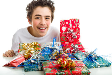 Christmas gifts in packages with colorful ribbons