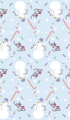 Snowman seamless background