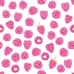 seamless pattern of delicious ripe raspberries