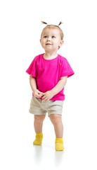 standing one year kid in tshirt isolated