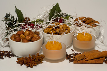 christmas decoration with nuts and spices