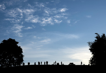 People and blue sky
