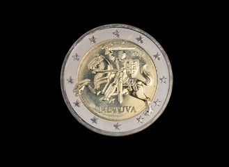 Lithuanian 2 euro coin isolated on black