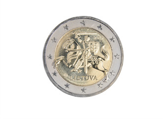 Lithuanian 2 euro coin isolated on white