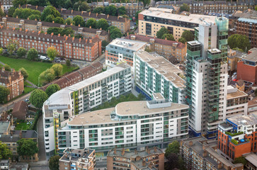 Old and modern city buildings - London aerial view