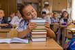Schoolgirl hugged books