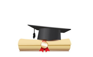 Black graduation cap with degree Isolated on white