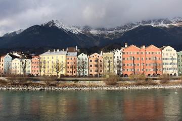 Houses alongside River Inn in Innsbruck, Austria