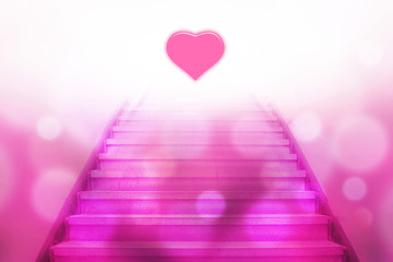 stairway going up to the heart with bokeh light,pink color tone