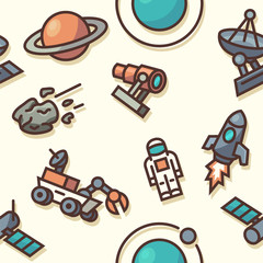 Seamless pattern with space icons. Vector illustration.