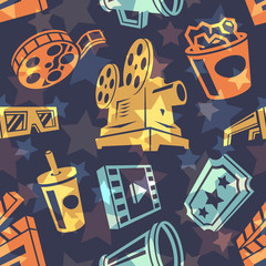 Seamless pattern with cinema icons. Vector illustration.