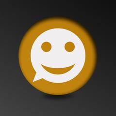 merry face sign icon. Round button speech bubble.