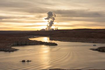 Lake Powell at sunrise, Navajo power station