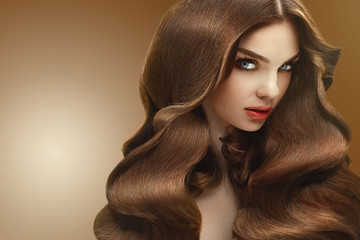 Hair. Portrait of Beautiful Woman with Long Hair. High quality i
