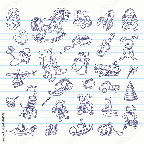 Freehand drawing retro toys items on a sheet of exercise book - 75204380
