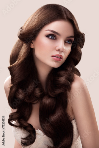 Hair. Portrait of Beautiful Woman with Long Wavy Hair. High qual Poster