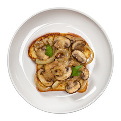 French Toast with mushrooms and onions. Selective focus.