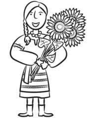 Ukrainian Girl With Sunflowers