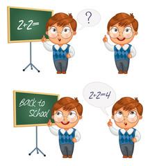 Schoolboy writing on the chalkboard
