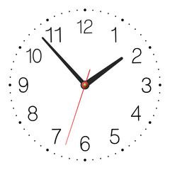 Simple classic vector clock isolated on white background