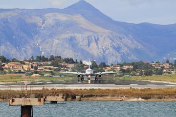 Plane on runway. Corfu, Greece