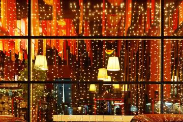 Christmas decorative lights of restaurant window