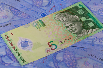 Different Ringgit banknotes from Malaysia