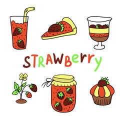 Set of icons - strawberry (vector)