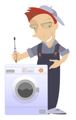 Mechanic has repaired a washing machine washer
