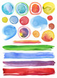 Collection of watercolor hand painted design elements background