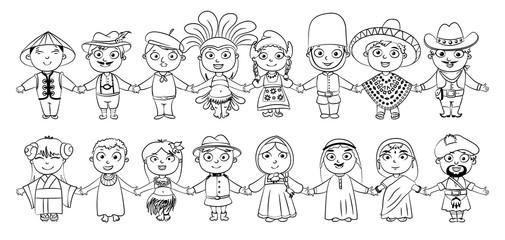 Nationalities. Coloring book
