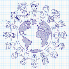 Multicultural character on planet earth cultural