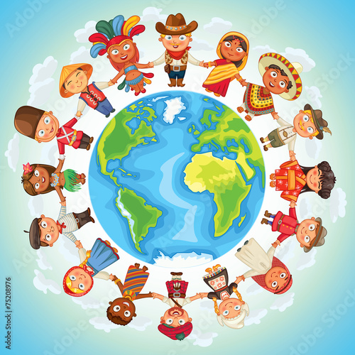 Multicultural character on planet earth - 75208976