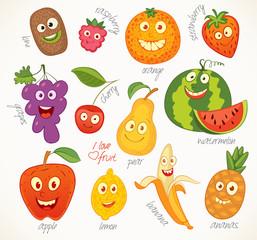Fruit. Funny cartoon character