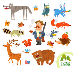 Set funny forest little animals. Cartoon character