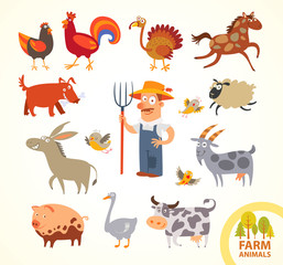 Set funny farm little animals. Cartoon character